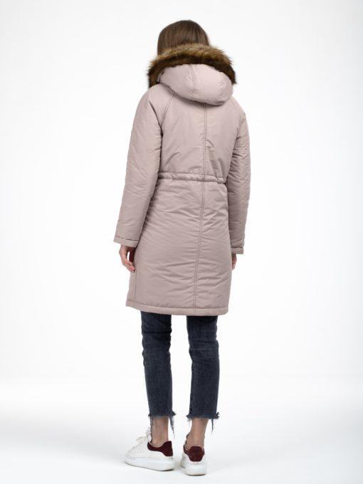 Бежевое зимнее пальто для беременных и кормящих Lana