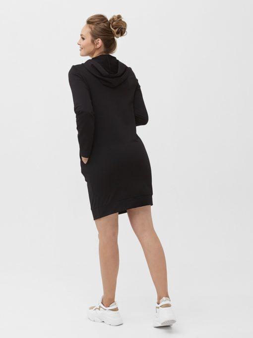 Черное платье для беременных и кормящих мам Sabina