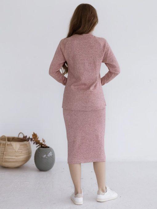Пудровый теплый костюм для будущих и кормящих мам Trendy