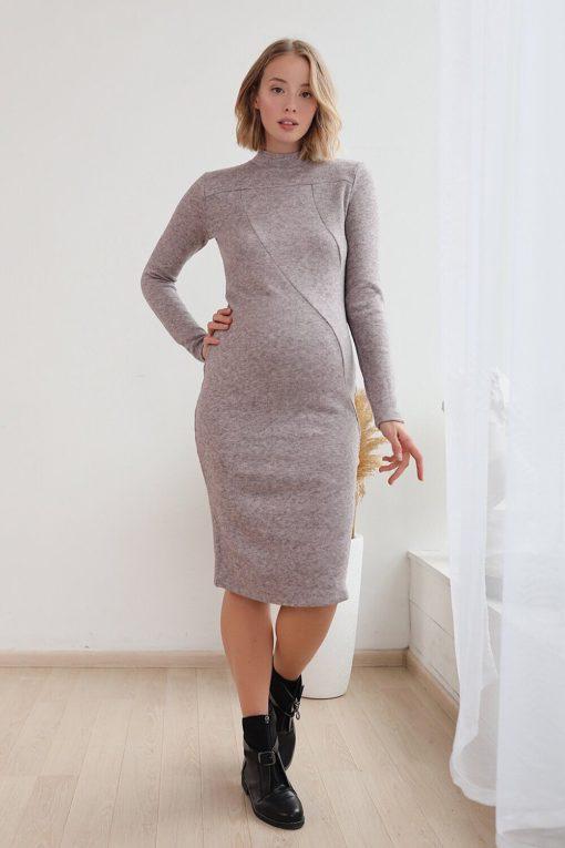Лиловое теплое платье для беременных Stella