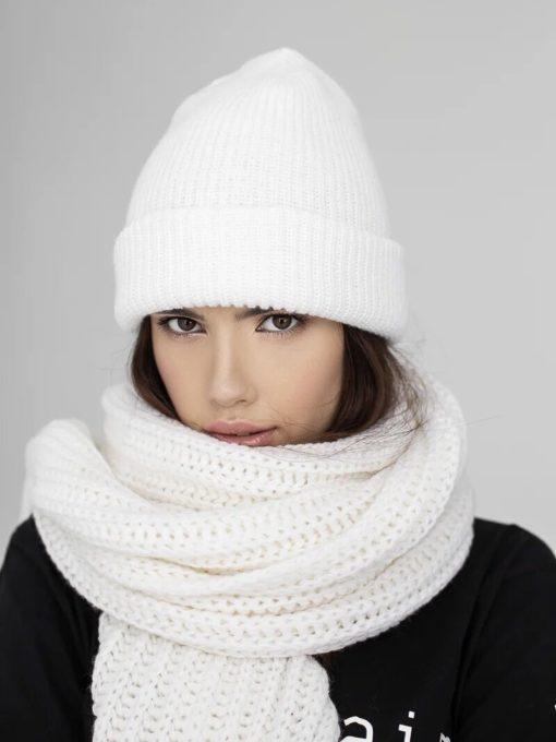 Молочный шерстяной шарф Alaska