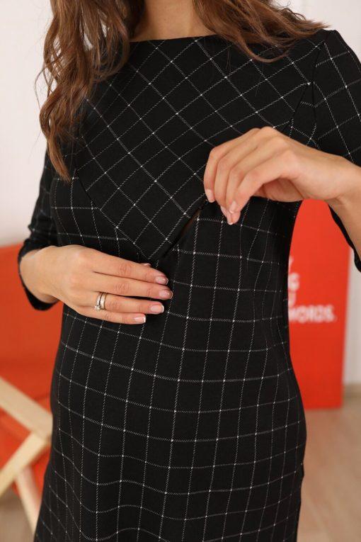 Черное платье для беременных и кормящих мам Mira