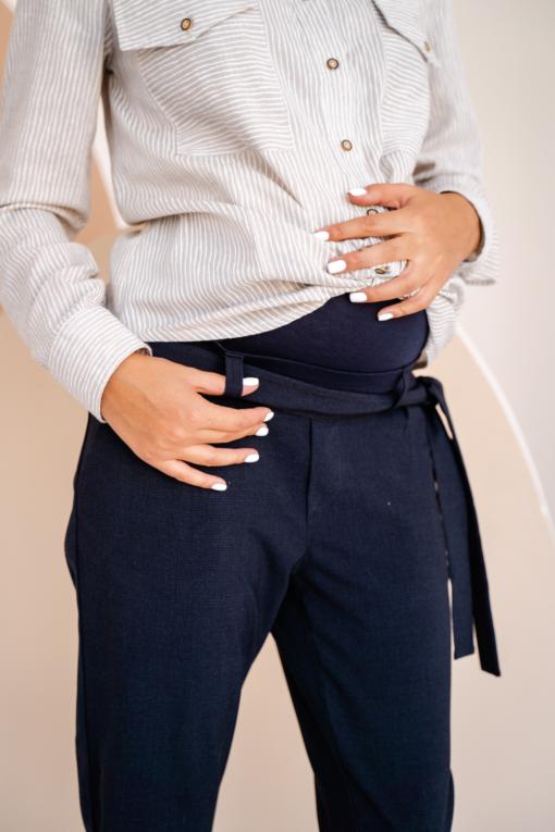 Синие укороченные брюки для будущих и кормящих мам Indira