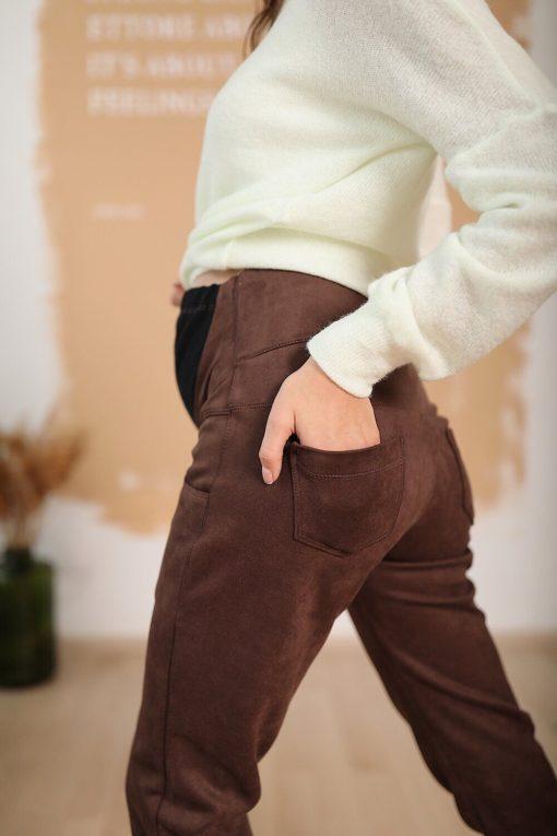 Шоколадные замшевые брюки для будущих мам Dallas