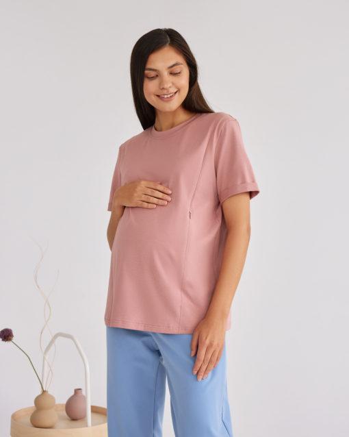 Пудровая футболка для будущих и кормящих мам Astoria