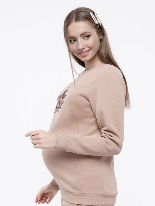 Бежевый теплый костюм для будущих и кормящих мам Darina