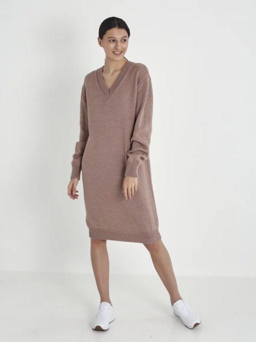 Кофейное вязаное платье для будущих мам Yuta