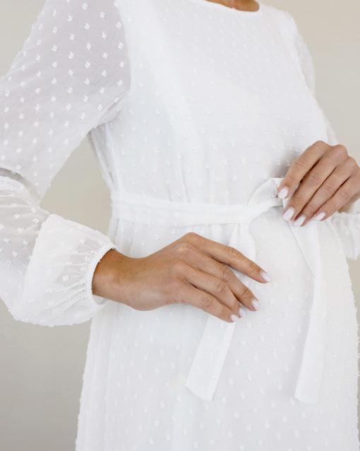 Белое воздушное платье для будущих и кормящих мам Bellini