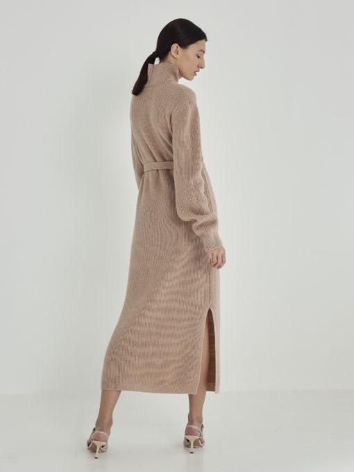 Бежевое вязаное платье для будущих мам Arden