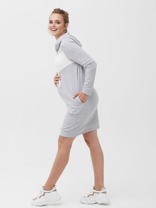 Серое платье для беременных и кормящих мам Sabina