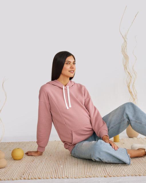 Пудровое худи для беременных и кормящих мам Kendal