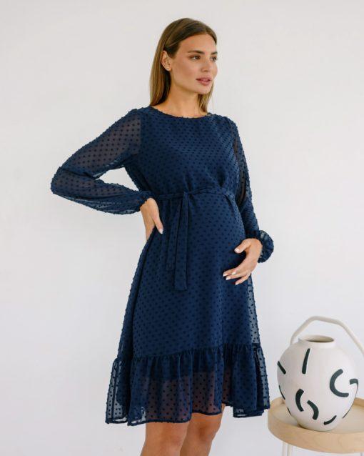 Синее воздушное платье для будущих и кормящих мам Bellini