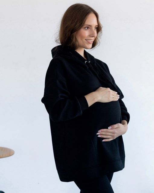 Черное теплое худи для беременных и кормящих мам Pandora