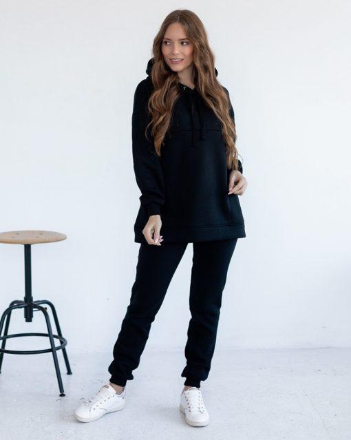Черные теплые брюки для будущих и кормящих мам Pandora