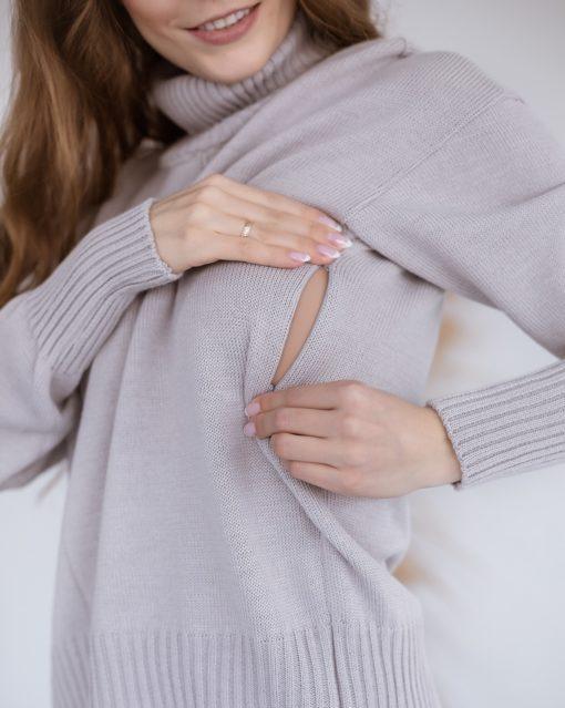Серый свитер для будущих и кормящих мам Dafna