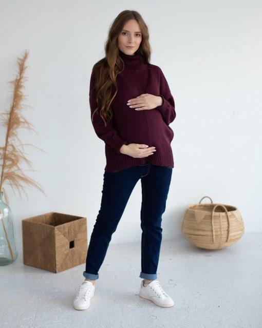 Баклажановый свитер для будущих и кормящих мам Dafna