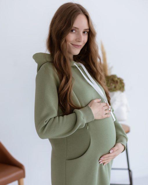 Фисташковое платье для беременных и кормящих Gwen