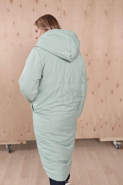 Мятное зимнее пальто для беременных и кормящих Flambe