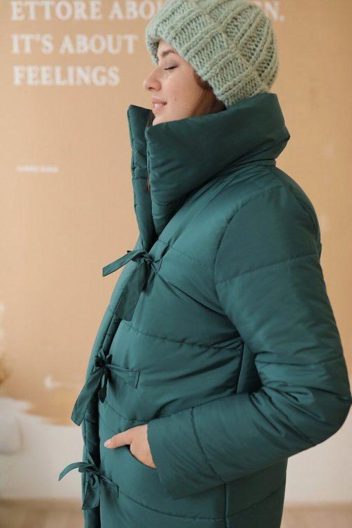 Изумрудное зимнее пальто-одеяло для будущих мам Orlean