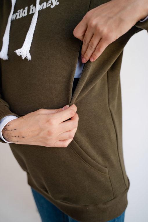 Оливковое худи для беременных и кормящих мам Wild Honey
