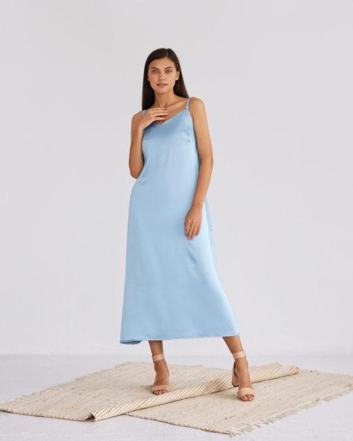 Голубое платье-комбинация для беременных и кормящих Karmen