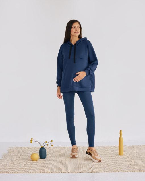 Синее худи-оверсайз для беременных и кормящих мам Pandora