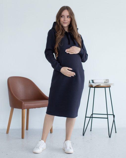 Графитовое теплое платье для беременных и кормящих Gwen