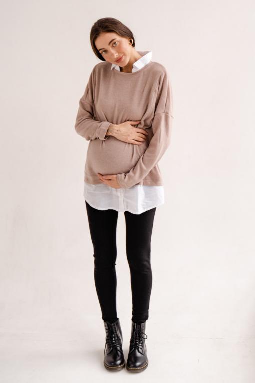 Черные тёплые брюки-леггинсы для будущих мам Visalia