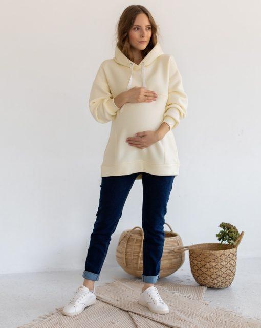Молочное теплое худи для беременных и кормящих мам Pandora