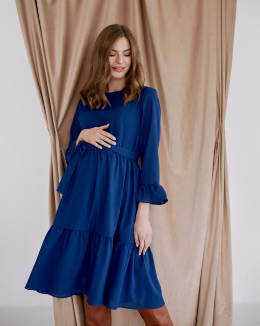 Синее платье для будущих и кормящих мам Vanilla