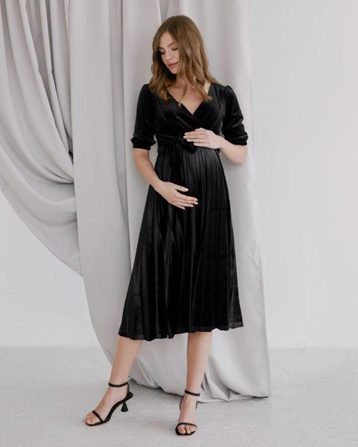 Чёрное бархатное платье для будущих и кормящих мам Diamond