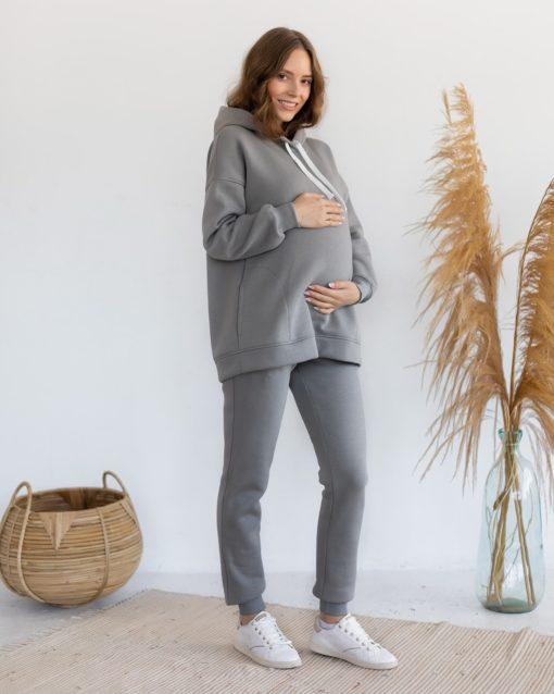 Серое теплое худи для беременных и кормящих мам Pandora