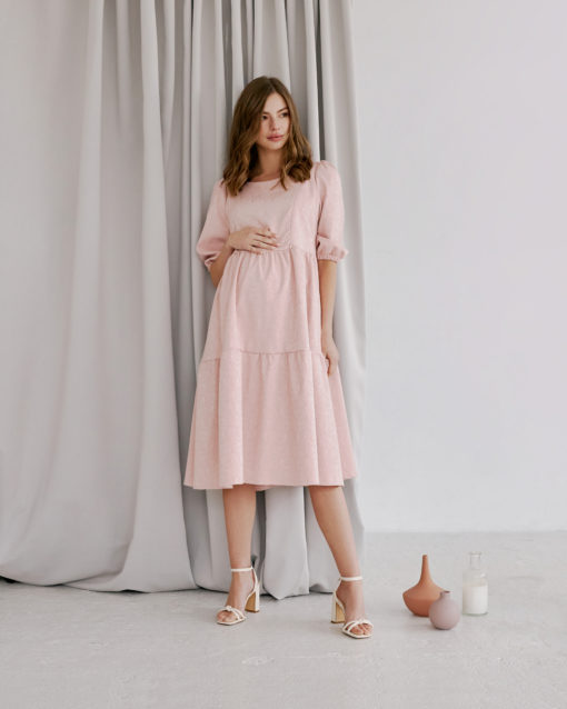 Пудровое платье для будущих и кормящих мам Cloud