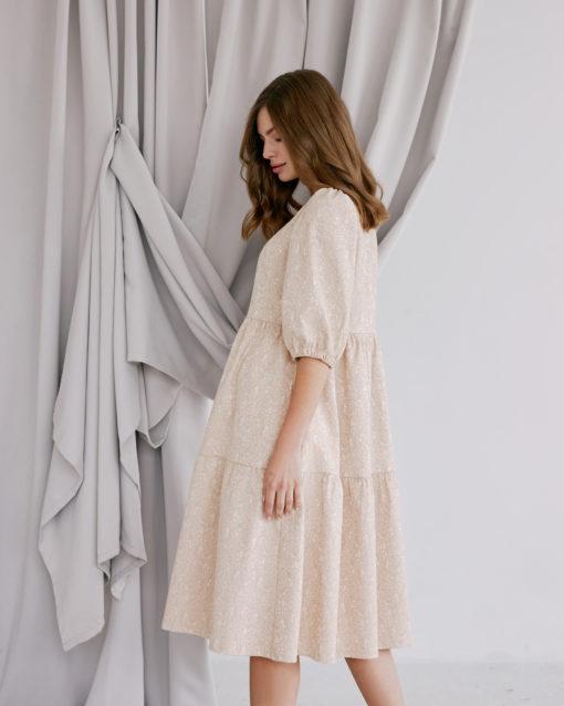 Бежевое платье для будущих и кормящих мам Cloud