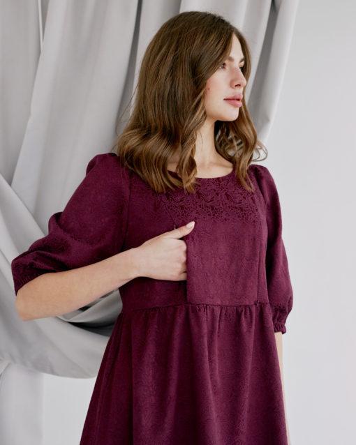 Вишневое платье для будущих и кормящих мам Cloud