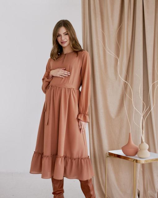 Платье в цвете корица для будущих и кормящих мам Valencia