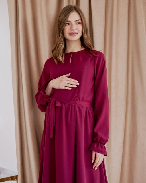 Вишневое платье для будущих и кормящих мам Valencia