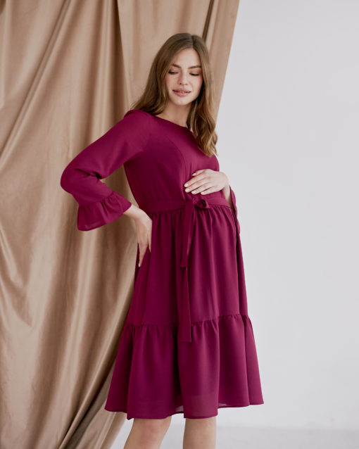Вишневое платье для будущих и кормящих мам Vanilla