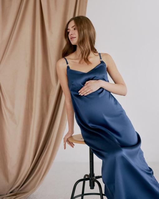 Синее платье-комбинация для беременных и кормящих Karmen