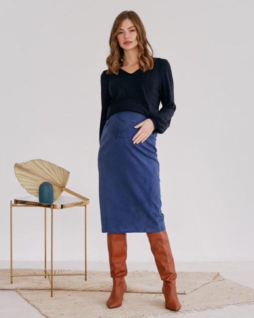 Синяя замшевая юбка для беременных Luchia