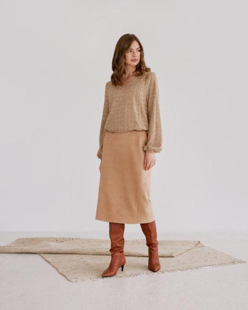 Бежевая замшевая юбка для беременных Luchia