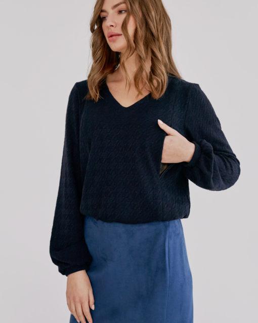 Синий джемпер для будущих и кормящих мам Molly