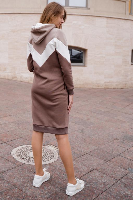 Теплое платье в цвете какао для беременных и кормящих Lisette
