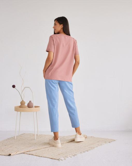 Голубые укороченные брюки для будущих и кормящих мам Baffy