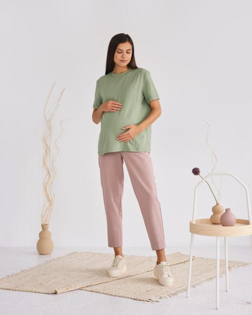 Кофейные укороченные брюки для будущих и кормящих мам Baffy