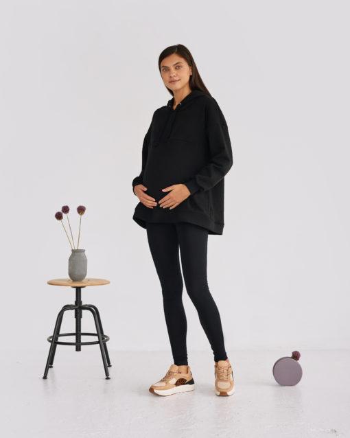 Черные леггинсы для будущих и кормящих мам Solar