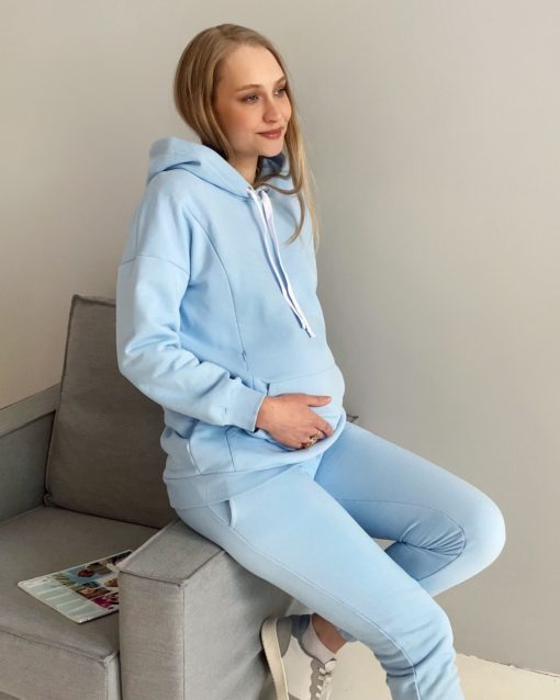 Голубое худи для беременных и кормящих мам Kendal