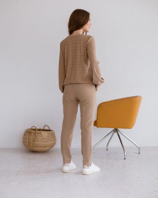 Бежевые базовые брюки для будущих и кормящих мам Eleganza
