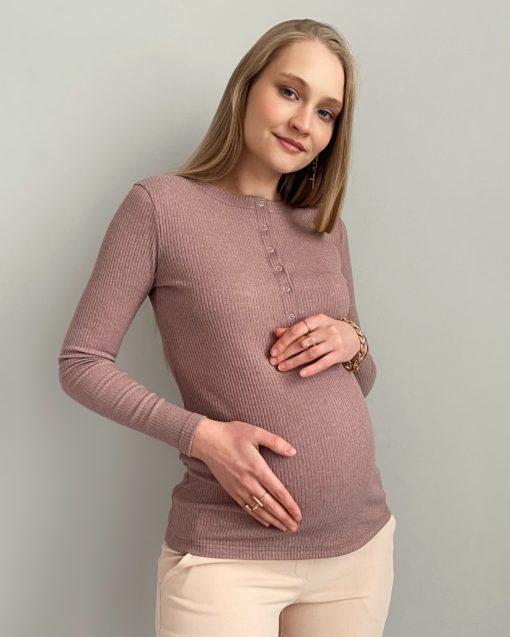 Кофейный лонгслив для беременных и кормящих мам Basic