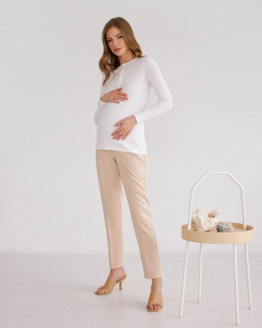 Белый лонгслив для беременных и кормящих мам Basic